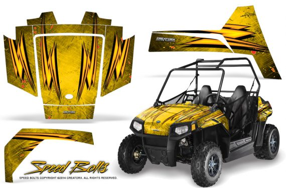 Polaris RZR170 CREATORX Graphics Kit Speed Bolts Yellow 570x376 - Polaris Youth RZR 170 Graphics
