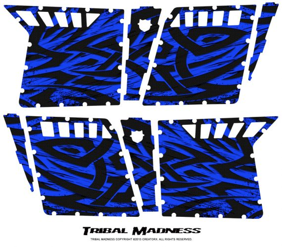 Polaris RZR4 Pro Armor Doors CreatorX Graphics Kit Tribal Madness Blue 570x499 - Polaris RZR4 800 900 Pro Armor 4 Door CREATORX Graphics
