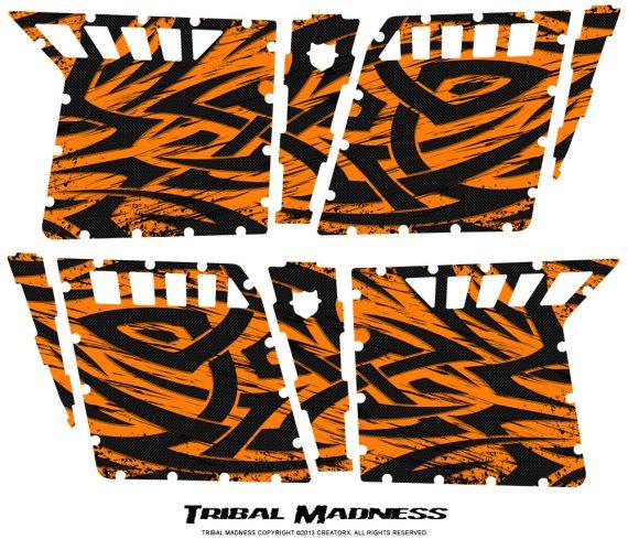 Polaris RZR4 Pro Armor Doors CreatorX Graphics Kit Tribal Madness Orange 570x499 - Polaris RZR4 800 900 Pro Armor 4 Door CREATORX Graphics
