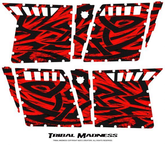 Polaris RZR4 Pro Armor Doors CreatorX Graphics Kit Tribal Madness Red 570x499 - Polaris RZR4 800 900 Pro Armor 4 Door CREATORX Graphics