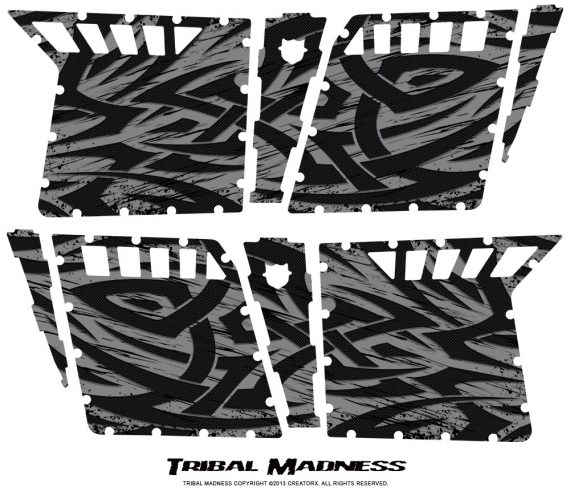 Polaris RZR4 Pro Armor Doors CreatorX Graphics Kit Tribal Madness Silver 570x499 - Polaris RZR4 800 900 Pro Armor 4 Door CREATORX Graphics