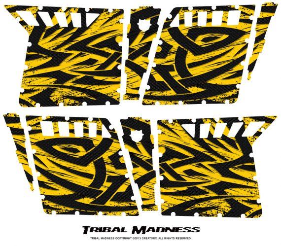 Polaris RZR4 Pro Armor Doors CreatorX Graphics Kit Tribal Madness Yellow 570x499 - Polaris RZR4 800 900 Pro Armor 4 Door CREATORX Graphics