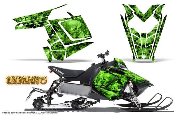 Polaris Rush CreatorX Graphics Kit Inferno Green 570x376 - Polaris PRO RMK RUSH 2011-2014 Graphics