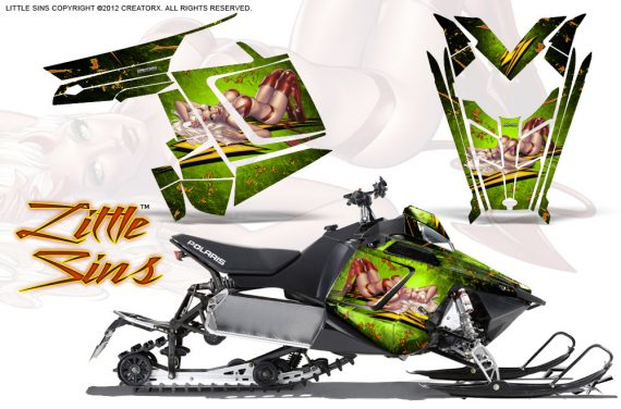 Polaris Rush CreatorX Graphics Kit Little Sins Green 570x376 - Polaris PRO RMK RUSH 2011-2014 Graphics