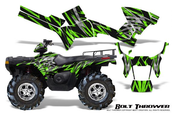 Polaris Sportsman 05 10 CreatorX Graphics Kit Bolt Thrower Green 570x376 - Polaris Sportsman 400 500 600 700 800 2005-2010 Graphics
