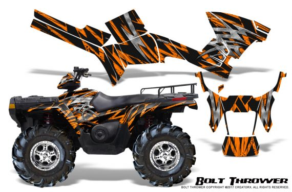 Polaris Sportsman 05 10 CreatorX Graphics Kit Bolt Thrower Orange 570x376 - Polaris Sportsman 400 500 600 700 800 2005-2010 Graphics