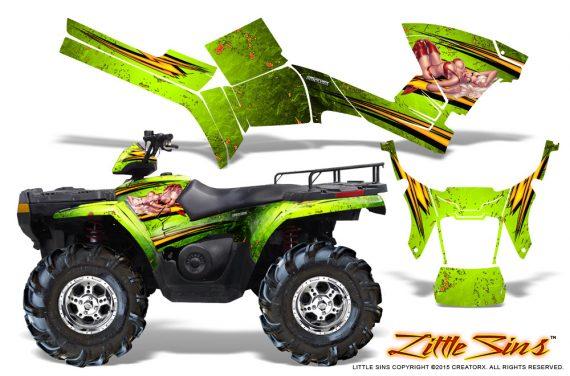Polaris Sportsman 05 10 CreatorX Graphics Kit Little Sins GreenLime 570x376 - Polaris Sportsman 400 500 600 700 800 2005-2010 Graphics