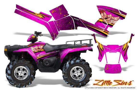 Polaris Sportsman 05 10 CreatorX Graphics Kit Little Sins Pink 570x376 - Polaris Sportsman 400 500 600 700 800 2005-2010 Graphics