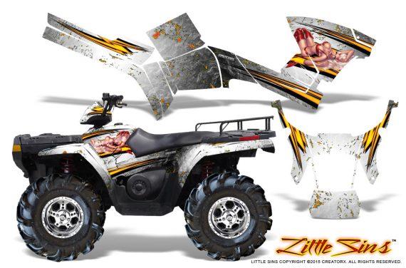 Polaris Sportsman 05 10 CreatorX Graphics Kit Little Sins White 570x376 - Polaris Sportsman 400 500 600 700 800 2005-2010 Graphics