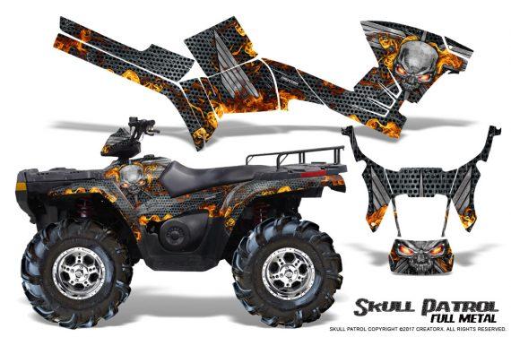 Polaris Sportsman 05 10 CreatorX Graphics Kit Skull Patrol Full Metal 570x376 - Polaris Sportsman 400 500 600 700 800 2005-2010 Graphics