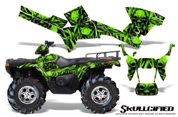 Polaris Sportsman 05 10 CreatorX Graphics Kit Skullcified Green 570x376 - Polaris Sportsman 400 500 600 700 800 2005-2010 Graphics