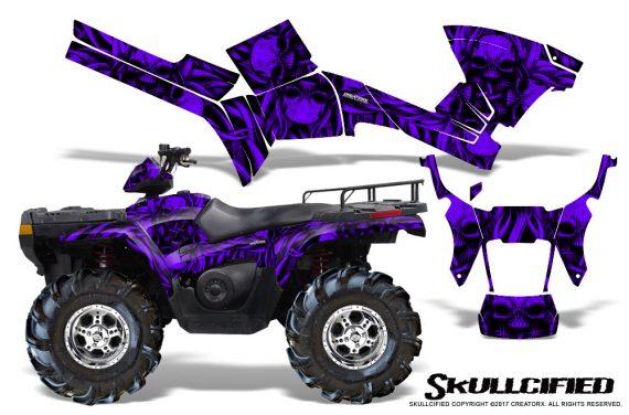 Polaris Sportsman 05 10 CreatorX Graphics Kit Skullcified Purple 570x376 - Polaris Sportsman 400 500 600 700 800 2005-2010 Graphics