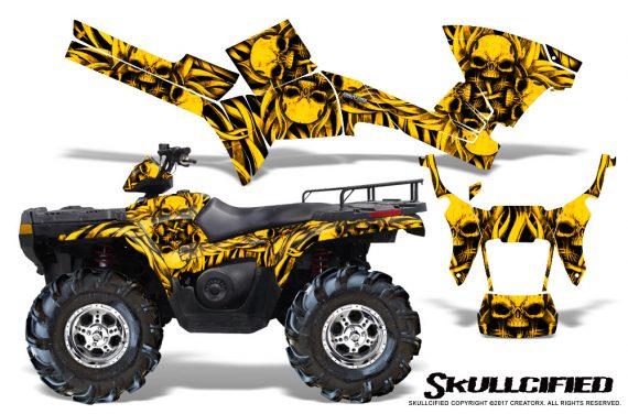 Polaris Sportsman 05 10 CreatorX Graphics Kit Skullcified Yellow 570x376 - Polaris Sportsman 400 500 600 700 800 2005-2010 Graphics