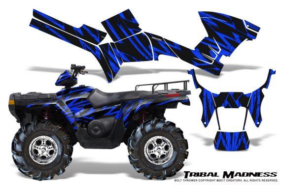 Polaris Sportsman 05 10 CreatorX Graphics Kit Tribal Madness Blue 570x376 - Polaris Sportsman 400 500 600 700 800 2005-2010 Graphics