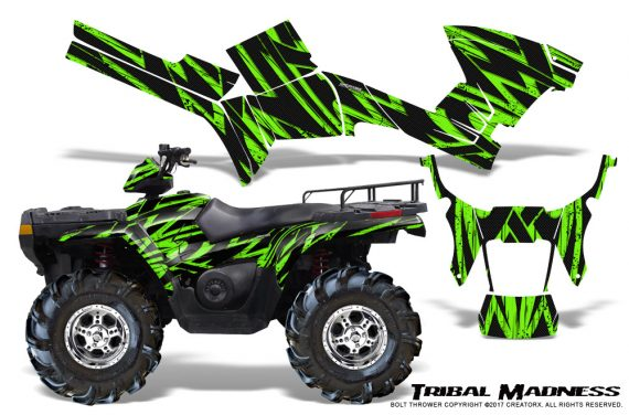 Polaris Sportsman 05 10 CreatorX Graphics Kit Tribal Madness Green 570x376 - Polaris Sportsman 400 500 600 700 800 2005-2010 Graphics