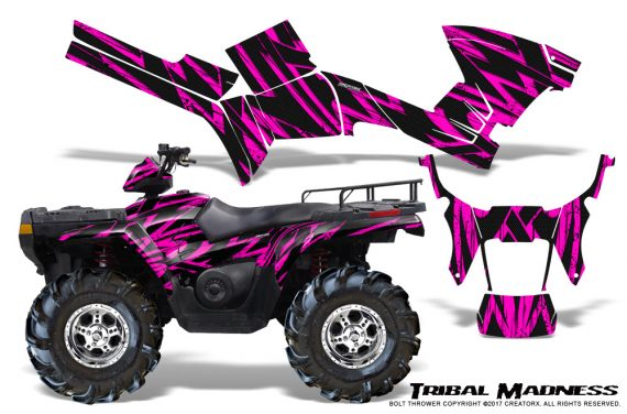 Polaris Sportsman 05 10 CreatorX Graphics Kit Tribal Madness Pink 570x376 - Polaris Sportsman 400 500 600 700 800 2005-2010 Graphics