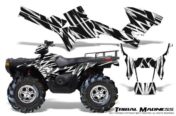 Polaris Sportsman 05 10 CreatorX Graphics Kit Tribal Madness White 570x376 - Polaris Sportsman 400 500 600 700 800 2005-2010 Graphics