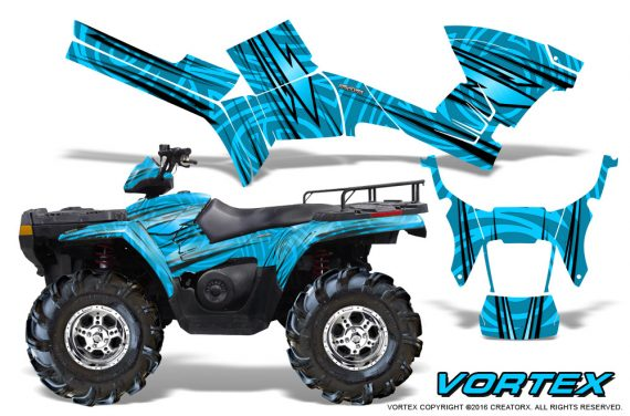 Polaris Sportsman 05 10 CreatorX Graphics Kit Vortex BlueIce 1 570x376 - Polaris Sportsman 400 500 600 700 800 2005-2010 Graphics