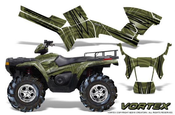 Polaris Sportsman 05 10 CreatorX Graphics Kit Vortex GreenArmy 1 570x376 - Polaris Sportsman 400 500 600 700 800 2005-2010 Graphics