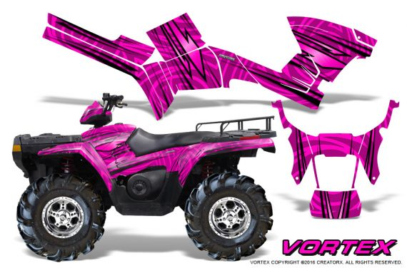 Polaris Sportsman 05 10 CreatorX Graphics Kit Vortex Pink 570x376 - Polaris Sportsman 400 500 600 700 800 2005-2010 Graphics