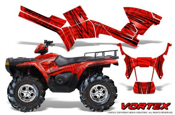 Polaris Sportsman 05 10 CreatorX Graphics Kit Vortex Red 570x376 - Polaris Sportsman 400 500 600 700 800 2005-2010 Graphics