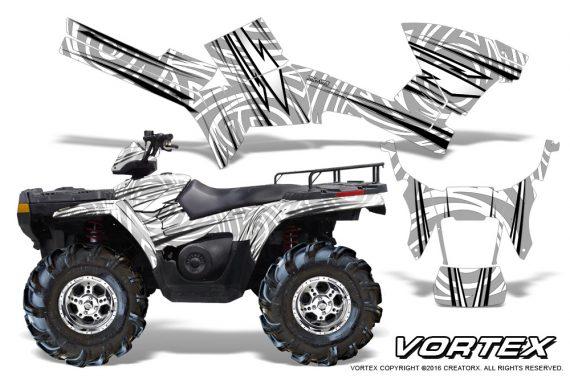 Polaris Sportsman 05 10 CreatorX Graphics Kit Vortex White 1 570x376 - Polaris Sportsman 400 500 600 700 800 2005-2010 Graphics