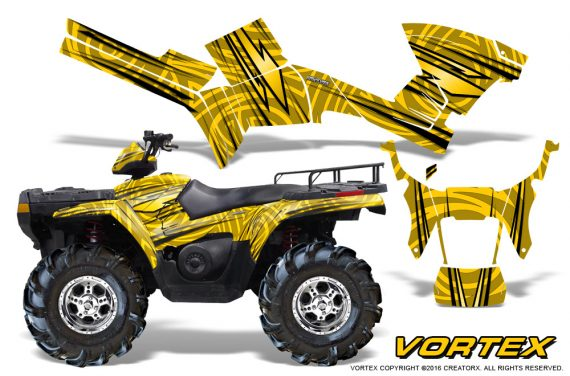 Polaris Sportsman 05 10 CreatorX Graphics Kit Vortex Yellow 570x376 - Polaris Sportsman 400 500 600 700 800 2005-2010 Graphics