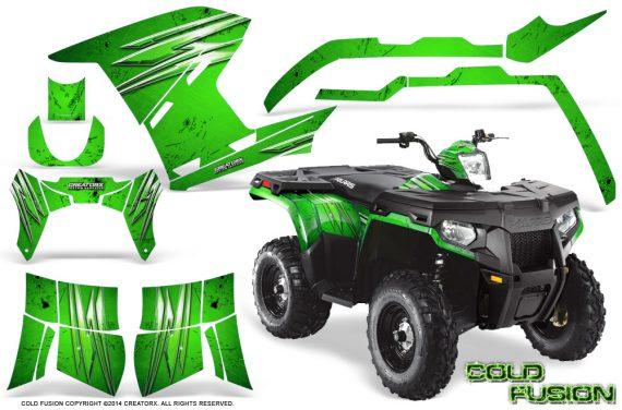Polaris Sportsman 400 500 800 2011 2014 CreatorX Graphics Cold Fusion Green 570x376 - Polaris Sportsman 500 800 2011-2015 Graphics