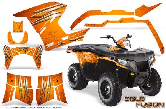 Polaris Sportsman 400 500 800 2011 2014 CreatorX Graphics Cold Fusion Orange 570x376 - Polaris Sportsman 500 800 2011-2015 Graphics