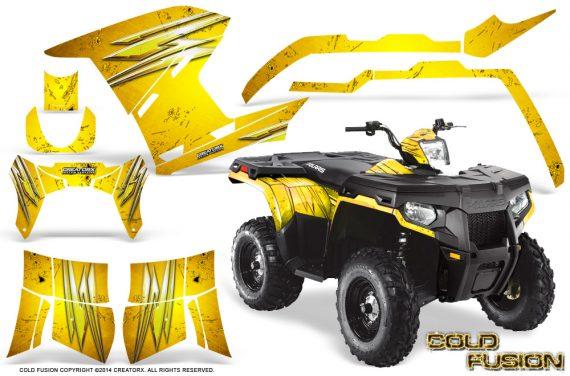 Polaris Sportsman 400 500 800 2011 2014 CreatorX Graphics Cold Fusion Yellow 570x376 - Polaris Sportsman 500 800 2011-2015 Graphics
