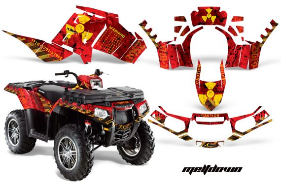 Polaris Sportsman 850 11 13 AMR Graphics Kit Meltdown Yellow RedBG 570x376 - Polaris Sportsman 550 09-15 - 850 1000 13-16 Graphics