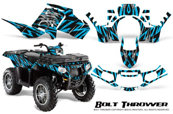 Polaris-Sportsman-850-11-13-Graphics-Kit-Bolt-Thrower-BlueIce