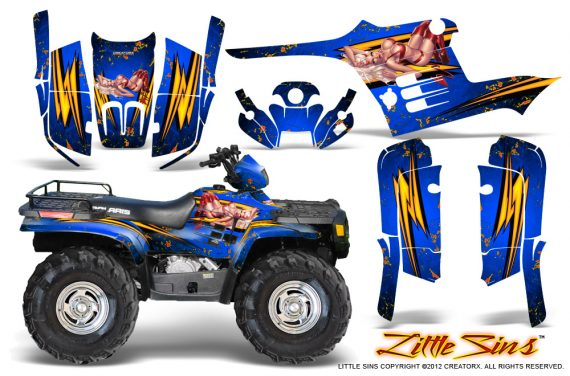 Polaris Sportsman 95 04 CreatorX Graphics Kit Little Sins Blue 570x376 - Polaris Sportsman 400 500 600 700 1995-2004 Graphics