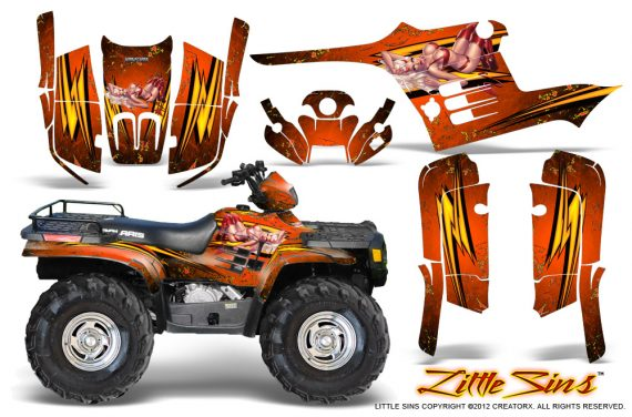 Polaris Sportsman 95 04 CreatorX Graphics Kit Little Sins Orange 570x376 - Polaris Sportsman 400 500 600 700 1995-2004 Graphics