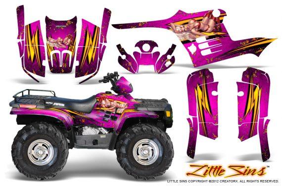 Polaris Sportsman 95 04 CreatorX Graphics Kit Little Sins Pink 570x376 - Polaris Sportsman 400 500 600 700 1995-2004 Graphics