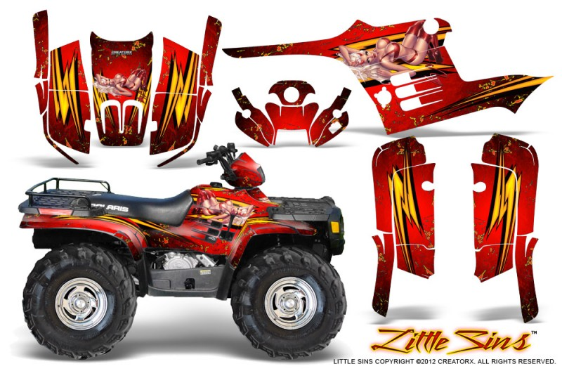 Polaris-Sportsman-95-04-CreatorX-Graphics-Kit-Little-Sins-Red