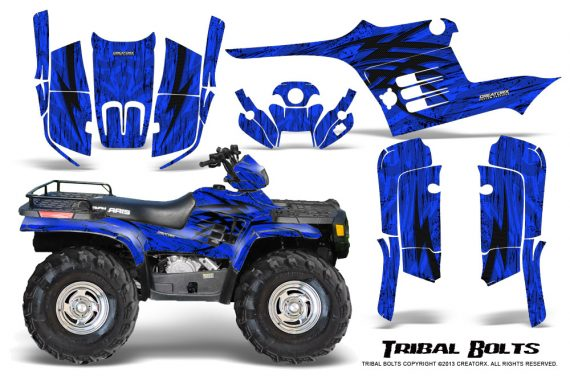 Polaris Sportsman 95 04 CreatorX Graphics Kit Tribal Bolts Blue 570x376 - Polaris Sportsman 400 500 600 700 1995-2004 Graphics