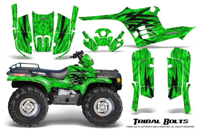 Polaris-Sportsman-95-04-CreatorX-Graphics-Kit-Tribal-Bolts-Green