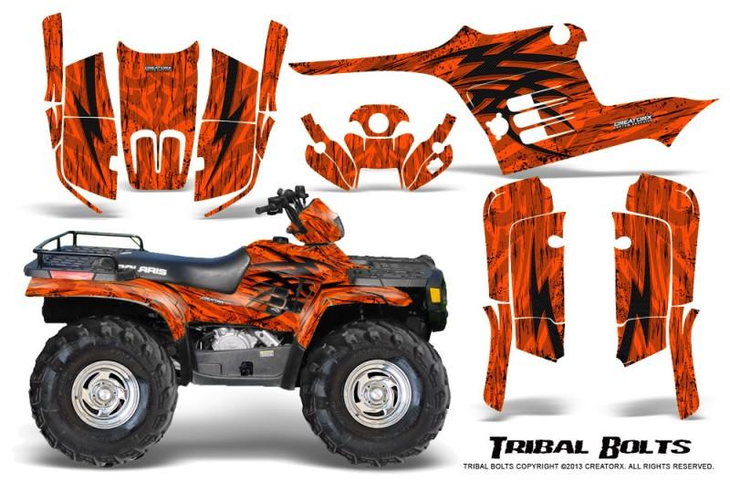 Polaris-Sportsman-95-04-CreatorX-Graphics-Kit-Tribal-Bolts-Orange