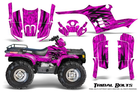 Polaris Sportsman 95 04 CreatorX Graphics Kit Tribal Bolts Pink 570x376 - Polaris Sportsman 400 500 600 700 1995-2004 Graphics