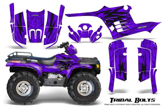 Polaris Sportsman 95 04 CreatorX Graphics Kit Tribal Bolts Purple 570x376 - Polaris Sportsman 400 500 600 700 1995-2004 Graphics