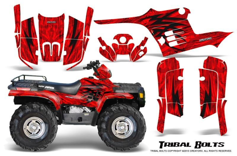 Polaris-Sportsman-95-04-CreatorX-Graphics-Kit-Tribal-Bolts-Red