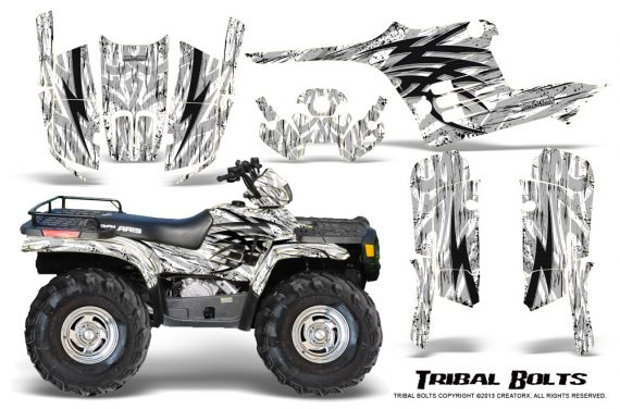 Polaris Sportsman 95 04 CreatorX Graphics Kit Tribal Bolts White 570x376 - Polaris Sportsman 400 500 600 700 1995-2004 Graphics