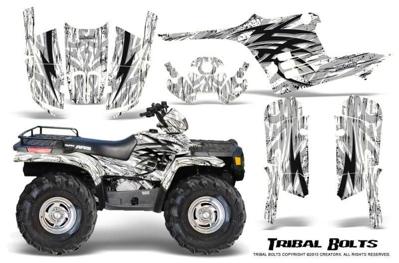 Polaris-Sportsman-95-04-CreatorX-Graphics-Kit-Tribal-Bolts-White