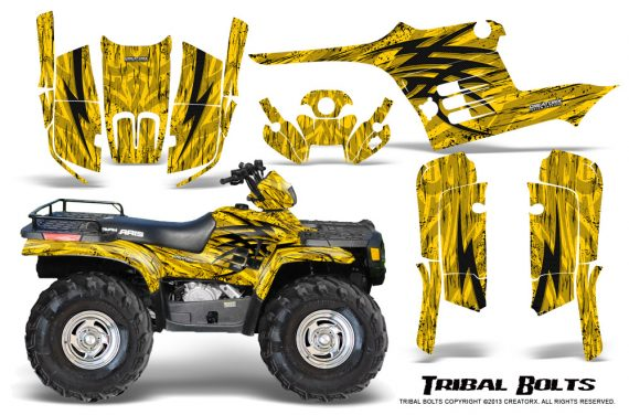 Polaris Sportsman 95 04 CreatorX Graphics Kit Tribal Bolts Yellow 570x376 - Polaris Sportsman 400 500 600 700 1995-2004 Graphics