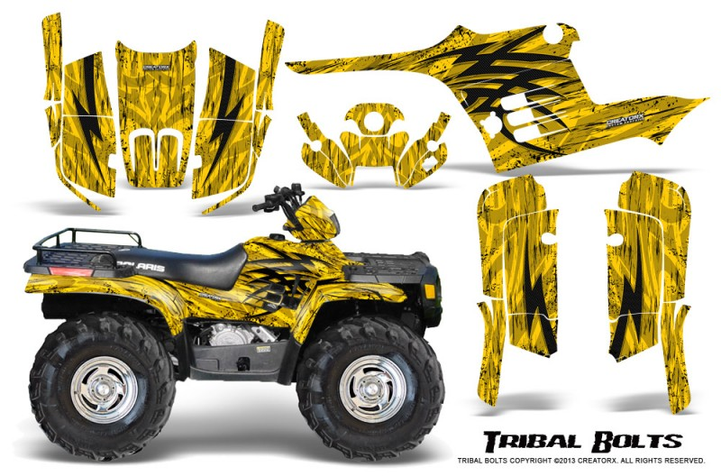 Polaris-Sportsman-95-04-CreatorX-Graphics-Kit-Tribal-Bolts-Yellow