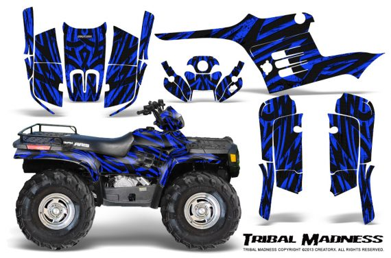 Polaris Sportsman 95 04 CreatorX Graphics Kit Tribal Madness Blue 570x376 - Polaris Sportsman 400 500 600 700 1995-2004 Graphics