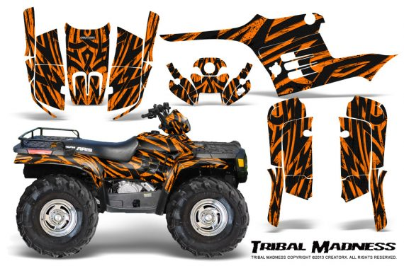 Polaris Sportsman 95 04 CreatorX Graphics Kit Tribal Madness Orange 570x376 - Polaris Sportsman 400 500 600 700 1995-2004 Graphics