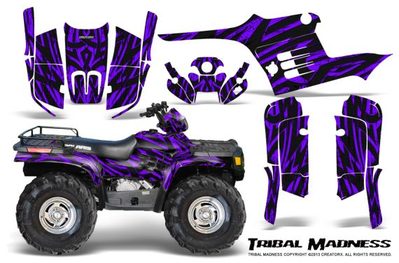 Polaris Sportsman 95 04 CreatorX Graphics Kit Tribal Madness Purple 570x376 - Polaris Sportsman 400 500 600 700 1995-2004 Graphics