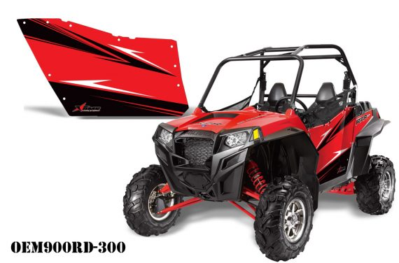 PolarisOEM 900Red OEM900RD 300 570x376 - Polaris XP RZR 800/900 Graphics for OEM Polaris Doors 2011-2012